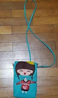 Cute little girl green colour sling bag/pouch