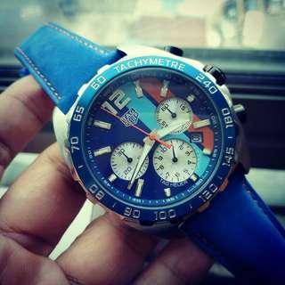 Tag F1 gulf chrono blue leather
