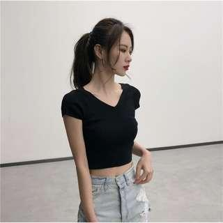 PO V Neck Crop Top
