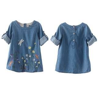 🚚 Cute Denim Girl Embroidery Dress