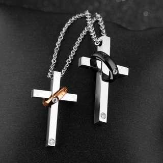 Couple Cross black and rose gold necklace