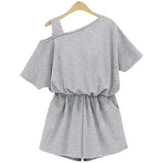 🚚 Solid Coloured Elastic Waist With One Side Off-Shoulders Romper