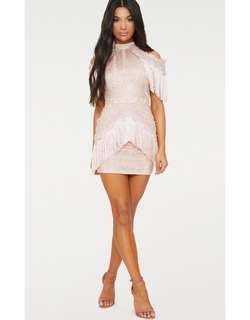 BNWT PRETTY LITTLE THING DUSTY PINK TASSEL BODYCON DRESS SIZE 10
