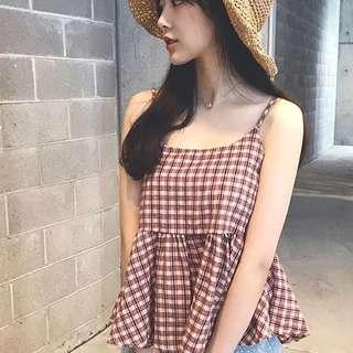 🚚 Red Lattice Checkered Plaid With Back Ribbon Tie Babydoll Top
