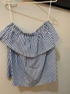 Strapless, stripe/frill blouse (fits 10-12)