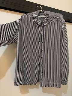 Vintage chiffon stripe button-up blouse (fits 12-16)