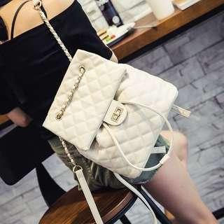 🚚 Leather Quilted Flipped Designed Drawstring Backpack