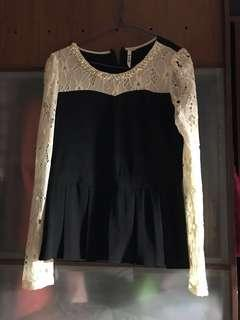 Lace top with pearls