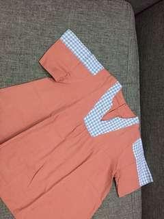 Baju atasan katun pink biru