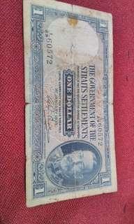 Malaya strait settlement 1 dollar note. 1935