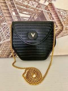 Vintage Valentino bag 斜背/單肩 全黑皮 Chanel ysl