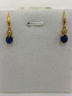 18K Yellow Gold Sapphires with Diamonds Earrings