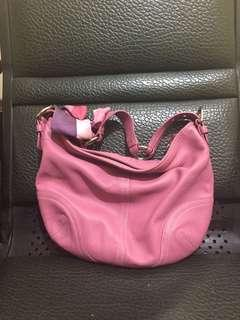 Coach leather purse hobo handbag in dusty pink