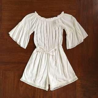 White off shoulder beach romper with lace details