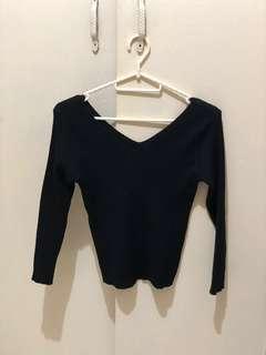 V-neck knitted top (black)