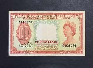 Malaya 1953 $10