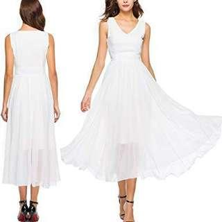 White Midi Chiffon Dress