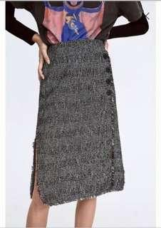 Zara 鈕扣下擺鬚邊兩側開叉裙