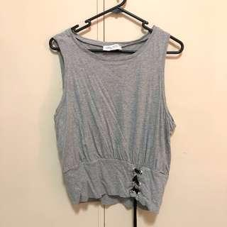 GREY TOP WITH LACE UP DETAIL