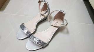 Silver Glitter Heels Shoes