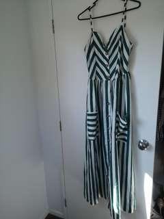 Emerald Green and white long dress