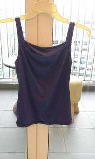Blue Stretchable Spag Singlet Top - Made In Japan