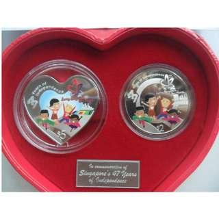 2012 Singapore 47 Years of Independence NDP 2-IN-1 Coin Set