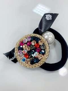 🚚 韓國進口東大門頭繩捷克鑽圓盤帶水鑽髮圈珍珠髮繩