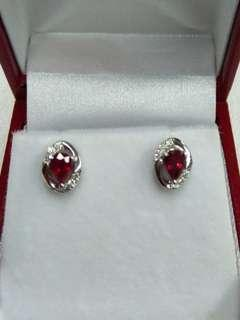 18K White Gold Ruby with Diamonds Earrings