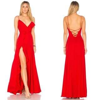 Red Open slit low back Dress / evening gown