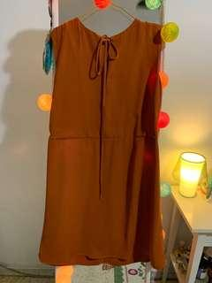 🚚 ZALORA Camel brown sleeveless skater dress