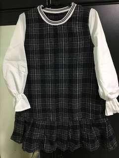 BN Checkered Dress With White L/S $12 LAST PRICE
