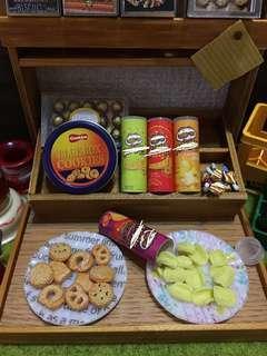 鬍鬚佬薯片4筒 加14塊薯片 miniature 微縮 微型 可配 re-ment Mimo t for candy 孖妹 黏土人 1:12