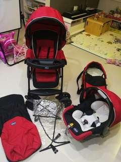 Chicco Travel System, stroller, car seat, cot, rain cover.