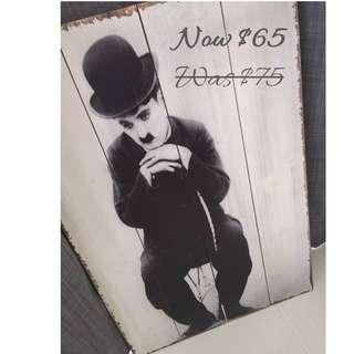 SALE-Wooden Vintage Poster - Charlie Chaplin's The Tramp