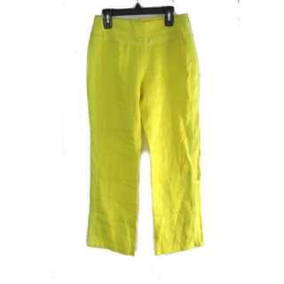 Mango Yellow Linen Crop Pants