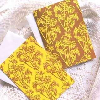 [Set Of 2] Ochre - Rustic Floral Embossed Cards.