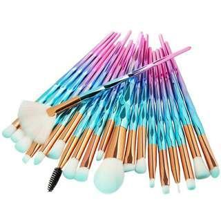 🚚 20支化妝刷套組全新藍粉色