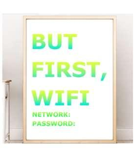 But First Wifi Home Decoration Wall Art Birthday Gift Bedroom Decoration Office Decor Sign Poster