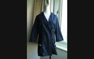 🚚 8 happy 深藍雙排釦蕾絲口袋外套