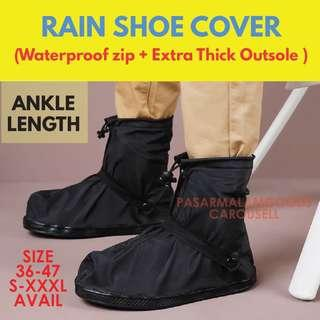 🚚 Instock THICK OUTSOLE Rain Shoe Cover Waterproof Anti Slip Outdoor Bike Hiking Travel