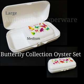 🚚 Butterfly Collection Oyster Set Medium (1) 12.9cm (L) × 10.1cm (W) × 5.2cm (H) Large (1) 22.5cm (L) × 12.3cm (W) × 6.7cm (H)  Selling at $28.00/Nett white