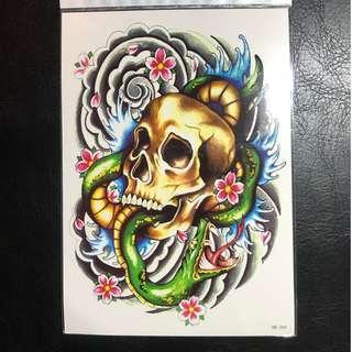 Traditional Japanese American Skull Snake Cloud Sakura CHerry Blossom Half Sleeve Temporary Tattoo Sticker