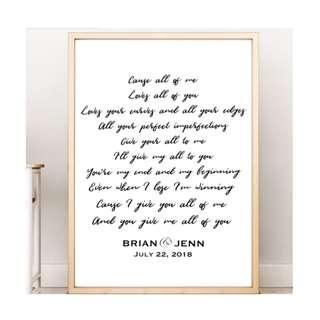 First Dancd Personalized Lyric Wall Art Print Anniversary Gift Wedding Gift Birthday Gift Love Gift Home Decoration Love Song Lyrics Picture Frame