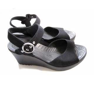 Crocs Black Wedge Sandals