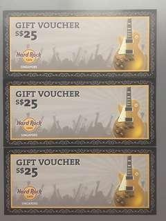 WTS Hard Rock Cafe Vouchers S75