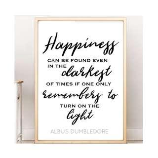 Harry Potter Happiness Can be Found Wall Art Office Decoration Bedroom Decoration Sign Poster Inspirational Quote Art Birthday Gift