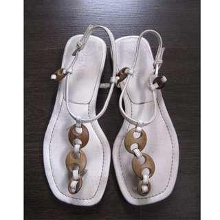 PRADA White T Strap Sandals