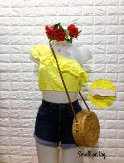 Zara yellow cropped top BNWT