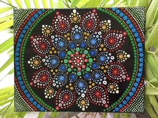 Hand painted mandala acrylic painting